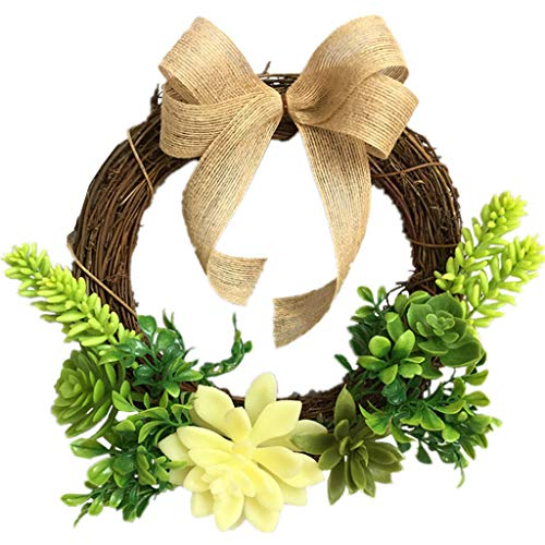 Idkska Artificial Flowers Succulent Plant Wreath Spring Wreath Outdoor for Front Door Wall Window Party Wedding Décor