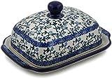Polish Pottery 6¾-inch Butter Dish made by Ceramika Artystyczna (Flowery Vines...