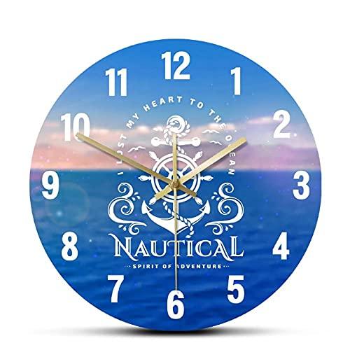 JKLMZYT Emblema náutico con Ancla y Volante Reloj de Pared acrílico Impreso a la Moda Reloj de diseño Moderno Spirit of Adventure-30X30cm