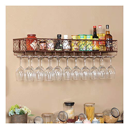 QWERTY Weinregal Mit Wand Metall Flaschenregal, Zaun Design, Rustikaler Weinhalter Zur Wandmontage, for Bar Küche Zuhause, Schwarz (Color : Bronze, Size : 60x25cm)