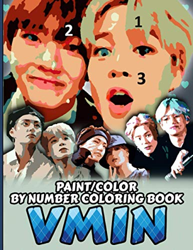 VMIN COLOR/PAINT BY NUMBER COLORING BOOK: BTS Taemin Stress Relief & Satisfying Coloring Book For BTS V & JIMIN Fans - Easy And Relaxing Vmin Pictures ... Taehyung & Park Jimin Stans & Bangtan A.R.M.Y