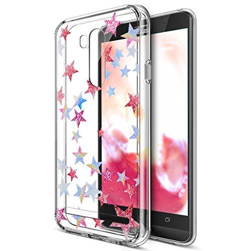 Kompatibel mit Schutzhülle Asus Zenfone Go TV ZB551KL Hülle Handyhülle,Bunte Gemalte Mandala Blumen Transparent TPU Silikon Handyhülle Tasche Silikon Hülle Durchsichtig Schutzhülle,Farbige Sterne