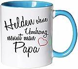 Mister Merchandise Kaffeebecher Tasse Helden ohne Umhang nennt Man Papa Papa Vati Papi Vater Spruch Teetasse Becher Weiß-Hellblau