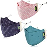 GASK 3D Protector Premium Reusable Outdoor Cotton Cloth Face Mask with 20 Replaceable Filters & STRETA -Shield Protection for Unisex (V1) Pack of 3