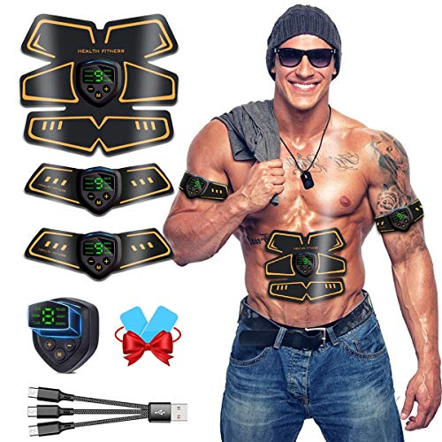 ROOTOK Electroestimulador Muscular EMS USB Recargable Abdominal estimulador Abdominal estimulador Muscular para Abdomen/Cintura/Pierna/Brazo/Glúteos