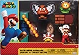 SUPER MARIO Nintendo Lava Castle 2.5' Figure Diorama Play Set, Includes: Fire Mario, Spiny, & para Goomba, Mechanical Spinning Fireballs, Block & Fire Flower