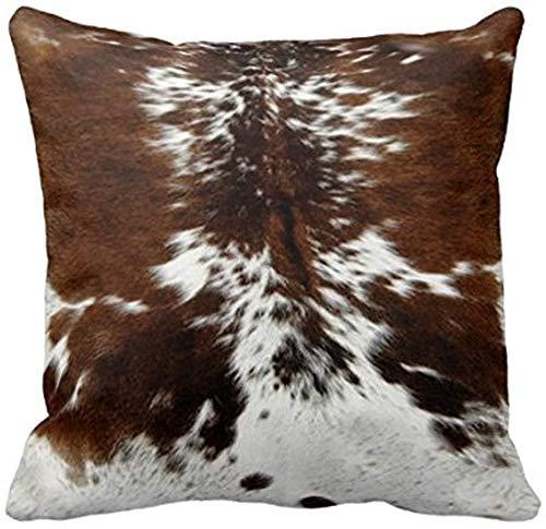 Leaveland Throw Pillowcase 20 x 20 Tri Color Brown Cowhide Print Throw Pillow Cover