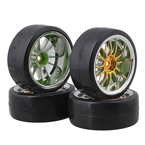 BQLZR RC1: 10 Racing Car Black Slick-Reifen aus Kunststoff mit 12-Speichen-Felgen für Drift Car & On Road 4er-Pack