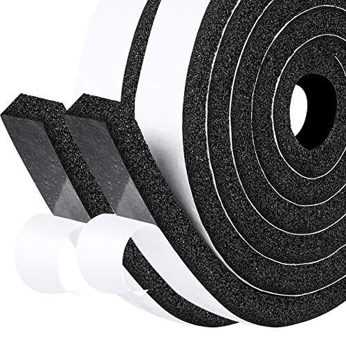 fowong Moosgummi Selbstklebend 25mm(B) x12mm(D) Dichtungsband Schaumstoffband Selbstklebend für Fenster Tür Kollision Siegel Schalldämmung Gesamtlänge 4m (2 Rollen je 2m lang)