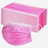 10/20/30/50/100/200Pcs 3-ply Face Mouth Hygiene Protection Pads,Disposable_Face_Masks with Elastic Earloop,Hot Pink Oral Protection Shield,High Filtration and Ventilation Security (30PC)
