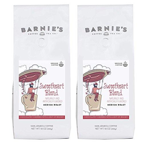 Barnies Sweetheart Blend Ground Coffee | Chocolate, Cherry and Brandy Flavored Coffee | Medium Roasted Arabica Coffee Beans | 2-Pack