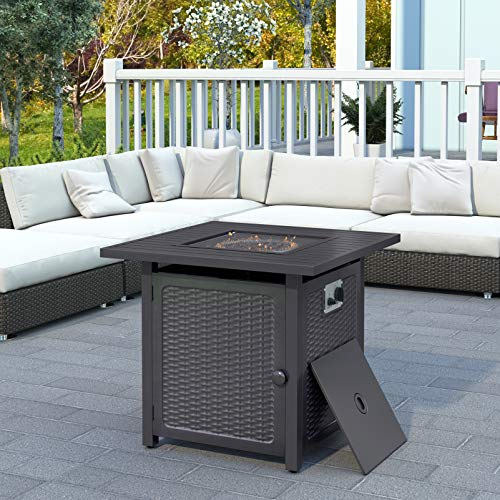 Outdoor Propane Gas Fire Pit Table with Cover, Stainless Steel Heater and Control Knob for Backyard, 50000 BTU Square Fire Table with Lid Strong Striped Steel Surface, Table In Summer, Stove In Winter