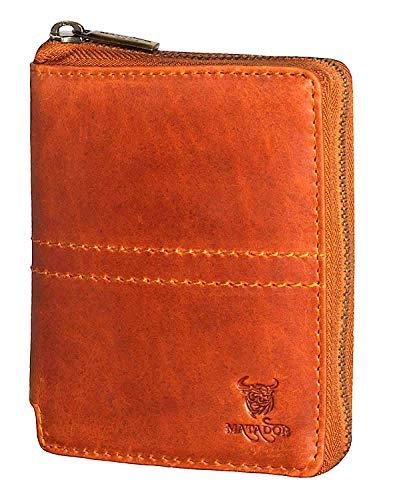 MATADOR Leder Damen Herren Geldbörse Portemonnaie TüV geprüfter RFID & NFC Schutz Antik Vintage Braun