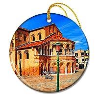 イタリアムラーノ教会ヴェネツィアクリスマスオーナメントセラミックシート旅行お土産ギフト