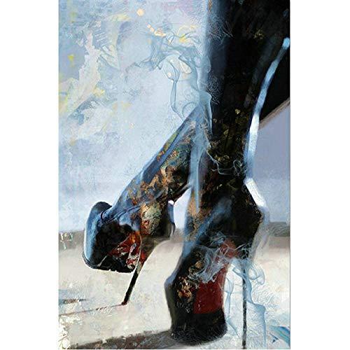 Digitales Malen für Anfänger Sexy High Heels abstrakte Kunst Färbung DIY Leinwand Kit Einfache Hand gezeichnet SDHJMT-20x24inch