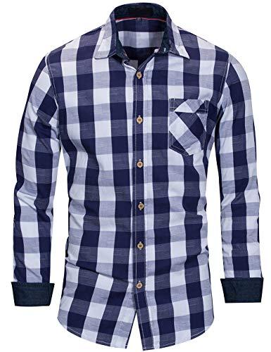 Chemise Homme à Carreaux Coton Manches Longues Slim Fit Basic Causal Business Loisirs, Bleu-blanc, XL