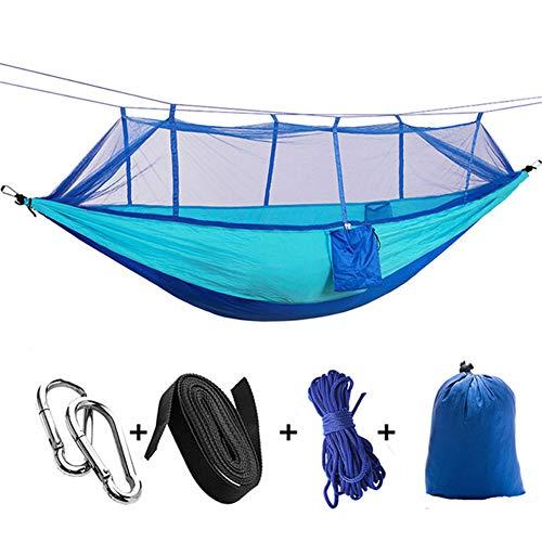 Camping Nylon Tragbare Hängematte Doppelzimmer mit Sicherheitsschnalle Moskitonetz und Regenfliege Reiseausrüstung Zelt für Outdoor-Wanderungen Trekkingrucksack Travel Beach Paddock Survival,11