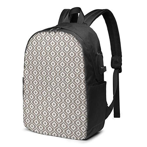 Laptop Backpack with USB Port Curvy Motifs Mosaic Ceramic Piece, Business Travel Bag, College School Computer Rucksack Bag for Men Women 17 Inch Laptop Notebook