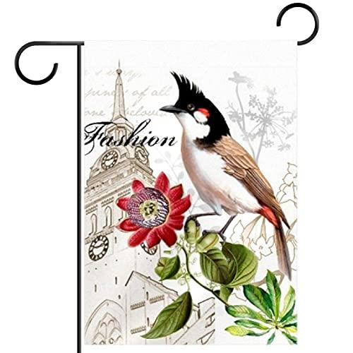 Banderines de doble cara para jardín, diseño de pájaros y campanario, resistente al agua, 71 x 101 cm, apto para terraza, porche, balcón, patio trasero y todas las estaciones