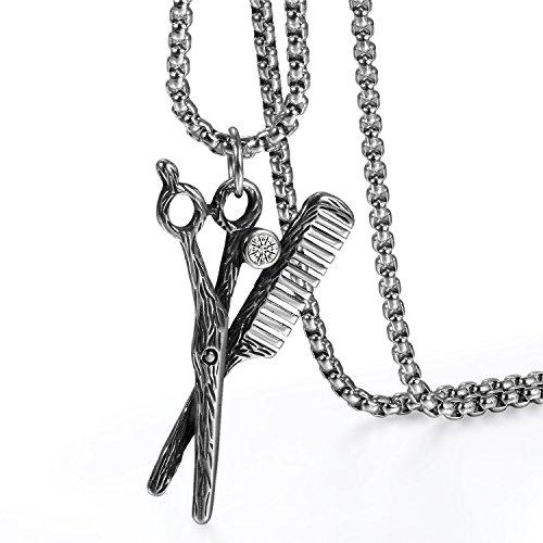 Cupimatch Neuheit Herren Kette mit Anhänger Schere Kamm 56cm Halskette Zirkonia Edelstahl Schmuck, Silber