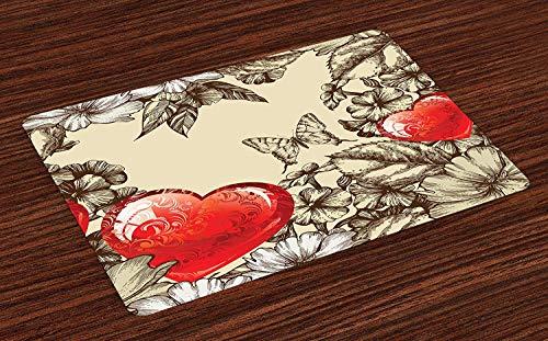 Soefipok Colchonetas Love, patrón del día de San Valentín con Flores y Mariposas Holiday Love Antiquity Vintage, Placemats de Tela Lavable para Comedor Decoración de Mesa de Cocina, Juego de 6