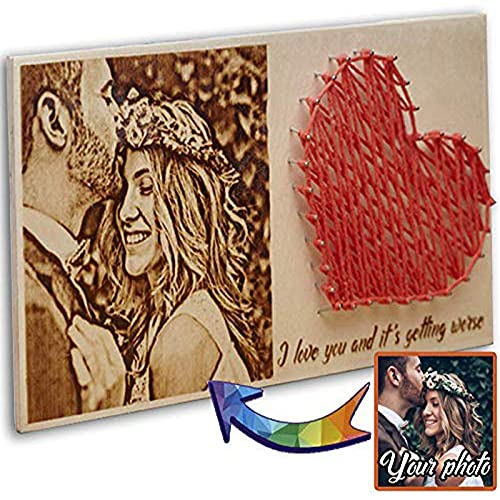OMGGIFT for Women - Men - Wood Photo Portrait- Personalized Gifts -String Art Heart Small-Romantic Gifts for him - her - Custom Plaque for Husband- Engagement Gift