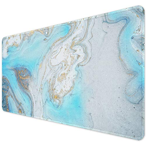 """ITNRSIIET Desk Pad, Mouse Pad,Office Desk Mat with Stitched Edges Non-Slip Waterproof, Easy Clean Desk Table Protector, Laptop Desk Writing Mat 35.4"""" x 15.7"""", Modern Marbling Blue"""