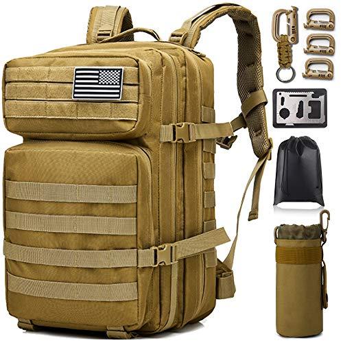 Monoki Militär-Taktischer Rucksack, Armee-Rucksack, 42 l, Molle-Tasche, Schlammgelb, 11.81'x19.68'x11.81' / 30x50x30CM (W*H*D)