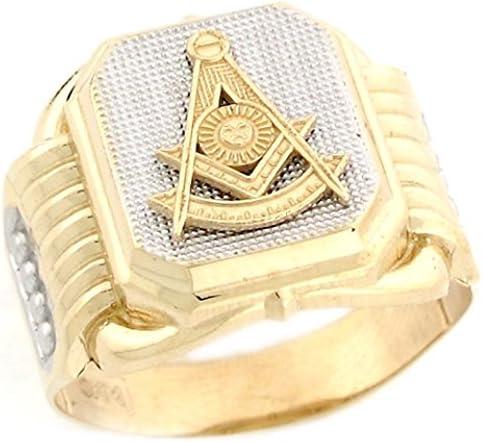 10k Two Tone Real Gold Past Master Freemason Masonic Fancy Mans Ring product image