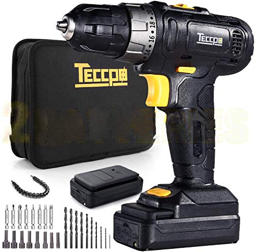 TECCPO Cordless Drill, 12V MAX Drill, 2pcs 2.0Ah Lithium-Ion Compact Drill Driver Set, 20+1 Position, 2-Speed Max Torque 240In-lbs, 3/8' Chuck Max, 27pcs Accessories, LED Light - TDCD02P