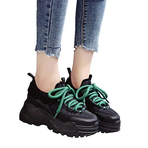 Mymyguoe Spleißen Sportschuhe Damen Flache Volltonfarbe Freizeitschuhe Bequem Innen Increased Ferse Plateau Sneaker Fitnessschuhe Laufschuhe Freizeitschuhe Atmungsaktiv Schnürer Turnschuhe