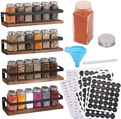 Aozita 4 Pack Spice Rack with Jars 25 Glass Spice Jars Hanging Spice Rack for Cabinet Space product image