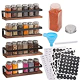 Aozita 4 Pack Spice Rack with Jars, 25 Glass Spice Jars, Hanging Spice Rack for Cabinet, Space Saving Rustic Wood Floating Shelves - Spice Labels Chalk Marker and Silicone Collapsible Funnel Included