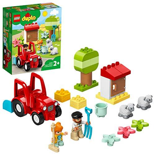LEGO 10950 DUPLO Traktor und Tierpflege Kleinkinder Spielzeug ab 2 Jahren, Bauernhof, Spielset mit Bauern und Schafen Figuren