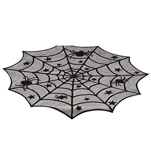 Stickers pompoen Halloween tafelkleed stof spinnenwebwebben decoratie tafeldecoratie party vleermuis kant zwart XS Blanco Y Gris