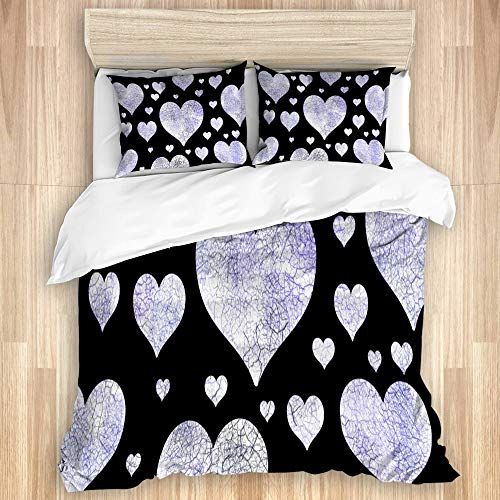 Aliciga Decorative Duvet Cover Set,Abstract indigo Honey heart grunge pattern on black background,Microfibre 230x220 with 2 Pillowcase 50x80,King