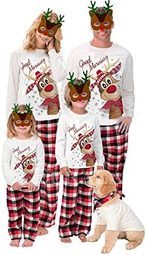 FAWFDF Conjunto de Pijamas Familiares a Juego de Navidad Pijamas Personalizados Ropa de Dormir Ropa de Dormir para Adultos