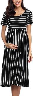 فستان كاجول مخطط للأمومة قصير 3/4 كم طول الركبة ملابس الحمل لاستحمام الطفل من BBHoping