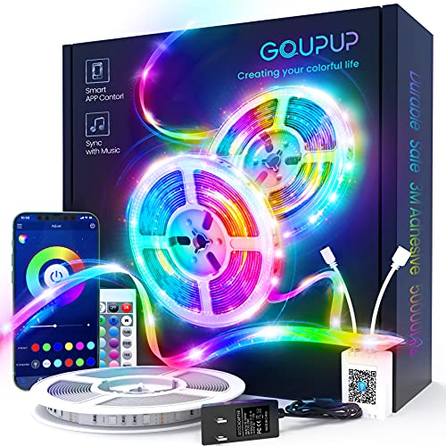 50 FT Long LED Strip Lights, GUPUP LED Lights for Bedroom, Color Changing Light Strip with Music Sync, Smart Lights Controlled via Bluetooth APP and IR Remote.