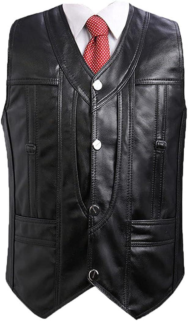 Men's Autumn Leather Vest Sheepskin Slim V-Neck Solid Color Vest