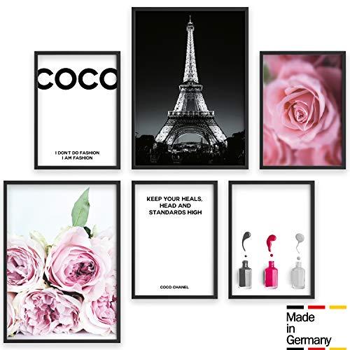 Bold Design Poster Set Coco - 2 x DIN A3 & 4 x DIN A4 - Harmonierende Bilder für Wohnzimmer & Schlafzimmer - 6 Wandposter ohne Rahmen (schwarz/weiß/rosa)