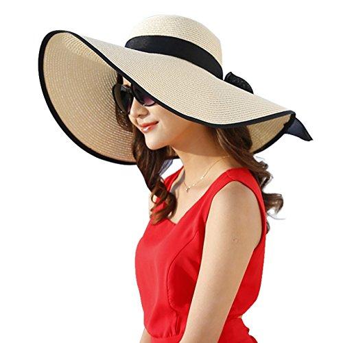 DRESHOW Damen Schlaff Strand Hut für Frauen Große Krempe Stroh Sonnenhüte Aufrollen Packbar UPF 50+, Ivory, Einheitsgröße