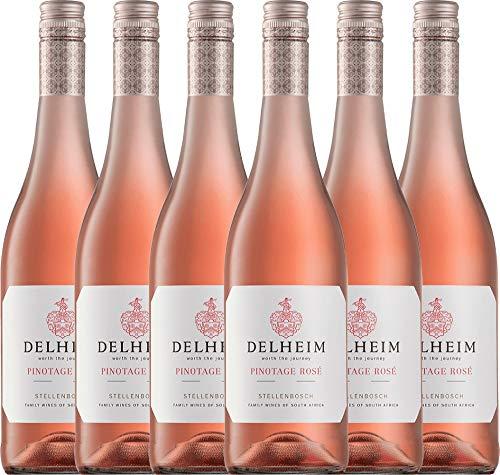 VINELLO 6er Weinpaket Rosé - Pinotage Rosé 2020 - Delheim mit Weinausgießer | trockener Roséwein | südafrikanischer Sommerwein aus Coastal Region | 6 x 0,75 Liter