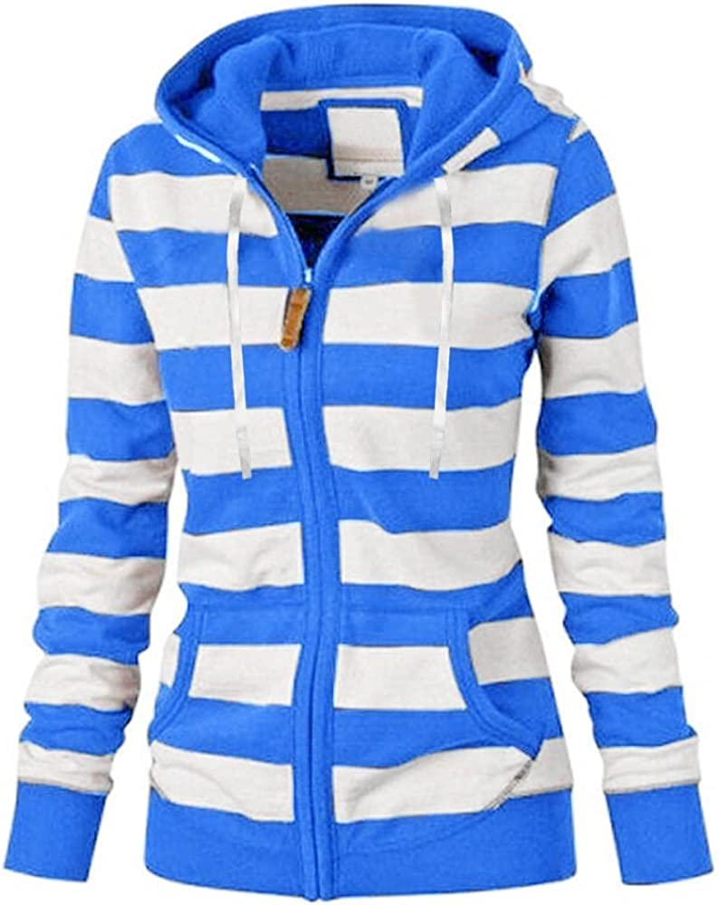 Toamen Womens Zip Up Hoodie Long Sleeve Striped Lightweight Pullover Sweatshirt Casual Knit Tunic Jacket with Pockets