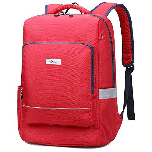 Mochila para niños Aoking, Mochila Escolar, Mochila Informal, Mochila de Viaje, Mochila Impermeable para portátil Principal, Regalos para niños y niñas (Rojo)