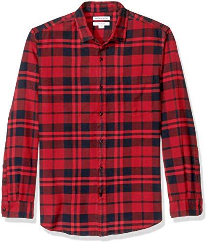 Amazon Essentials - Camisa de franela a cuadros, manga larga, ajustada, para hombre, Rojo (Red Plaid), Large