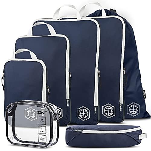Cubos de embalaje grandes para viajes, cubos de compresión, organizadores de equipaje, 6 piezas, ultraligeros, expandibles/bolsas de compresión para ropa por TRIPPED Travel Gear,...