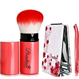 Retractable Blush Brush, Compact Mirror & Eyebrow Tweezer | Travel Set - Makeup Brush Set For Women | Kabuki Blush Brush, Retractable Makeup Brush, Powder Makeup Brush | Compact Mirror, Pocket Mirror | Precision Tweezer, Eyebrow Tweezer