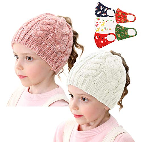Winter Girls Hats Ponytail Beanie Hat Kids Toddler Girl Knit Cap Messy Bun Solid Ribbed Skull BeanieTail(Age 2-10Years)