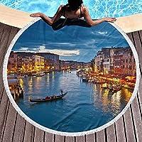 ヴェネツィアの夜 ラウンド ビーチ タオル 150 Cm、厚手のラウンド ビーチ タオル - サークル ビーチ ブランケット マイクロファイバー ヨガ マット、タッセル付きの超吸収多機能タオル